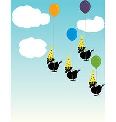Birds tied to balloons vector