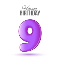 Birthday greeting card template with glossy number vector
