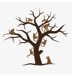 brown monkey tree with a lot of monkeys eps10 vector image vector image