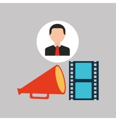 Businessman movie strip film megaphone icons vector