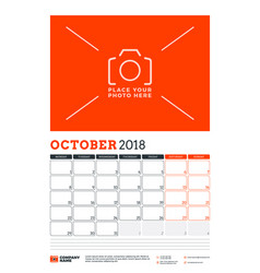 calendar planner template for 2018 year october vector image vector image