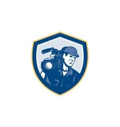 Cameraman film crew hd camera video shield retro vector