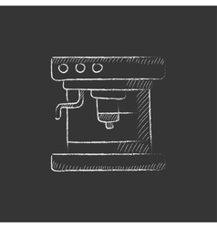 Coffee maker Drawn in chalk icon vector image vector image