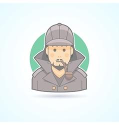 Detective sherlock holmes snoop icon vector