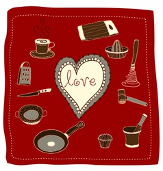 Doodle cooking love vector