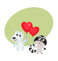 Funny bear and raccoon holding red heart shaped vector