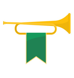 Golden bugle with green ribbon on it vector