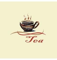 Hand drawn watercolor tea cup vector image vector image