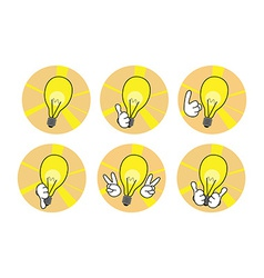 Lamp icons with hands set vector