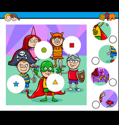Match pieces puzzle with kid at mask ball vector