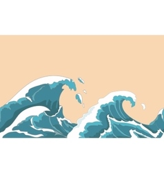 Ocean big wave seamless in Japanese style Water vector image