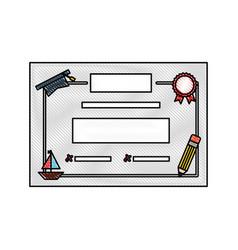 Preschool diploma isolated icon vector