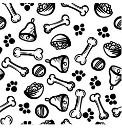 Seamless cute pattern with dog food cell bones vector