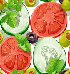 Seamless ornament delicious slices of Vegetables vector image vector image