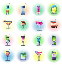 set of cocktails on a color background vector image vector image