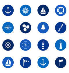 set of sea icons on color background vector image