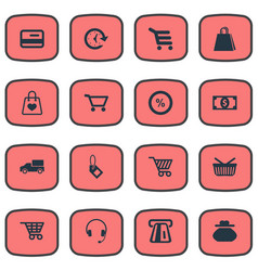 Set of simple shopping icons vector