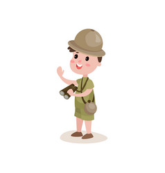 Smiling cartoon boy scout character standing with vector