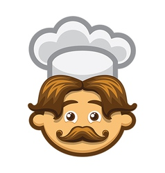 Smiling cook with mustache and chefs hat vector image vector image