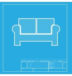 Sofa sign white section of icon on vector