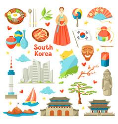 South korea icons set korean traditional symbols vector