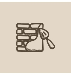 Spatula with brickwall sketch icon vector image
