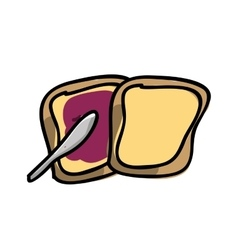 Toast with jam isolated icon design vector