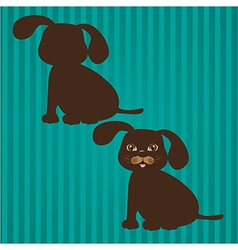 two types of dog silhouettes on a background of li vector image vector image