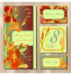 Wedding card design with red iris flowers vector