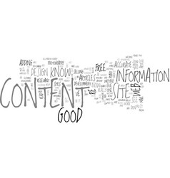 What is good content text word cloud concept vector