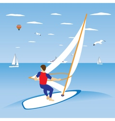 Windsurfer on ocean wave vector