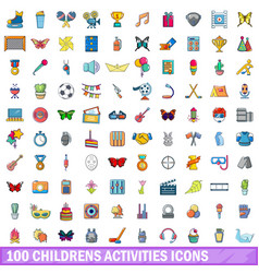 100 childrens activities icons set cartoon style vector