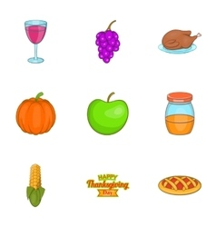 Gratitude celebration icons set cartoon style vector