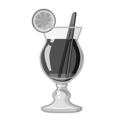 Cocktail with lemon icon gray monochrome style vector