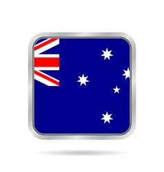 Flag of australia shiny metallic square button vector