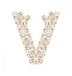 Floral letter v ornament font vector