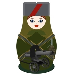Matryoshka with a machine gun Maxim vector image
