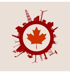 Circle with industrial silhouettes Canada flag vector image