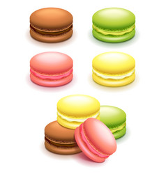French macaroon cakes set isolated on white vector