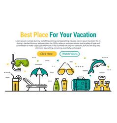 Best vacation - rectangular site header vector