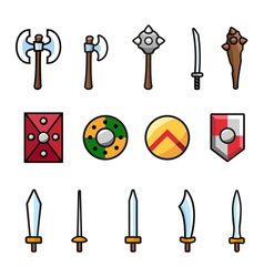 Set of different arms and shields vector