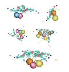 Set of christmas balls decoration on fir twigs vector