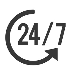 24 7 with arrow icon vector
