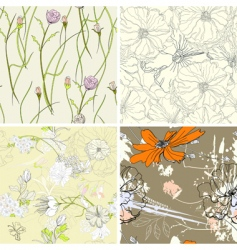 Set of floral seamless wallpaper vector
