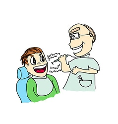 Cartoon of dentist with patient vector
