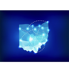Ohio state map polygonal with spot lights places vector