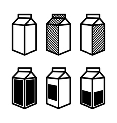 Milk and juice box icons set vector