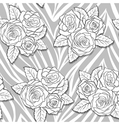 Bouquets of roses on animal abstract print vector