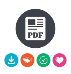 Pdf file document icon download pdf button vector