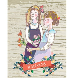 Retro girls vintage card with flowers frame vector